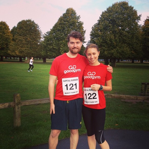 Damien Clarkson and Aimee Harrison in GoodGym gear