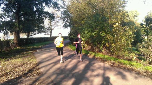 Lauren (on the right) goes head to head with another runner