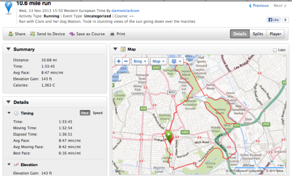 My 10 mile route