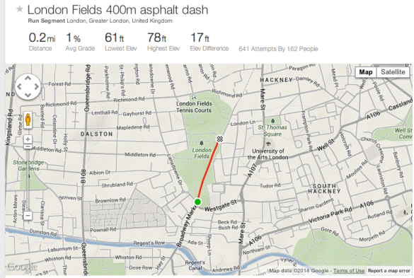 London Fields 400 metre dash